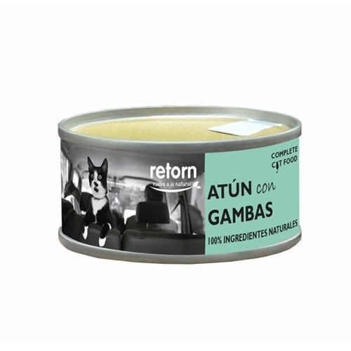 Comida Húmeda para Gatos Retorn Mousse Hydro Diet Atún con Gambas. Tripack 3x80gr
