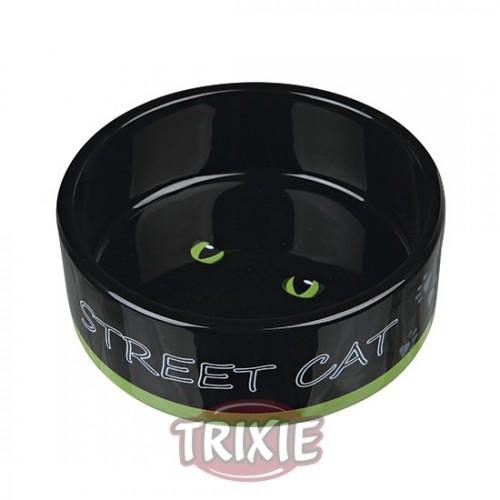 Comedero para Gatos Cerámica Negro con Ojos