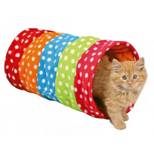 Túnel Juguete para Gatos Colores y Lunares con Papel Crunch