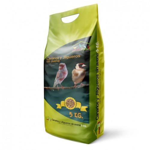 Comida para Canarios, Jilgueros y Silvestres Natural sin avena 5Kg