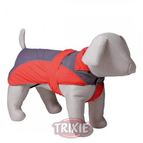 Abrigo Impermeable Perro Pequeño Lorient, XS, 30 cm, Rojo/Gris