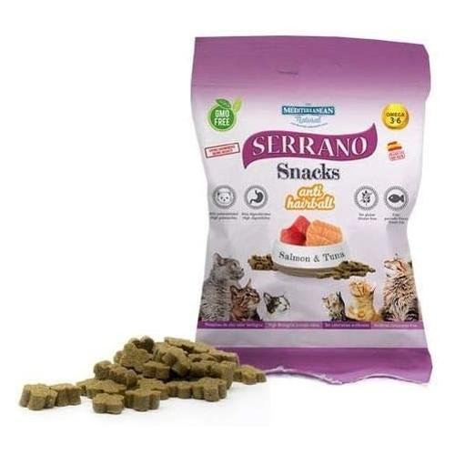 Snacks Mediterranean Serrano Salmón Atún Antibolas para gato 100gr